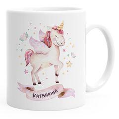 Kindertasse Kunststoff Einhorn Tasse personalisierte Namenstasse für Mädchen Einhorntasse SpecialMe®