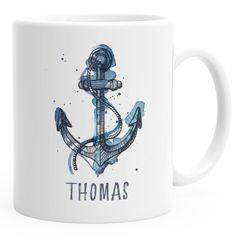 personalisierte Kaffee-Tasse mit Namen Anker Namenstasse persönliche Geschenke für Männer SpecialMe®