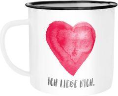 Emaille-Tasse Herz Spruch Ich liebe dich Geschenk Freundin Freund Ehemann Ehefrau Valentinstag Weihnachten Moonworks®