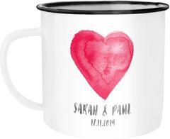 Emaille-Tasse mit zwei Namen Datum Herz personalisierte Geschenke Hochzeitsgeschenk Geschenk Liebe SpecialMe®
