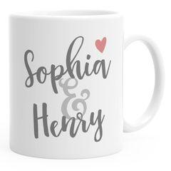 personalisierte Kaffee-Tasse mit Namen und Herz personalisierte Geschenke Liebe Hochzeit Valentinstag SpecialMe®