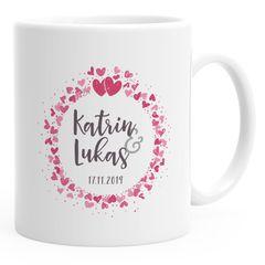 personalisierte Kaffeetasse individuelle Liebesgeschenke mit Namen und Datum anpassbar Hochzeitsgeschenk SpecialMe®