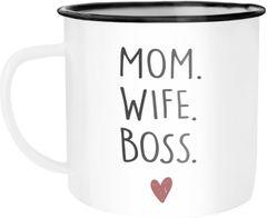 Emaille-Tasse Mom Wife Boss Dad Husband Legend Geschenk Mama Papa Moonworks®