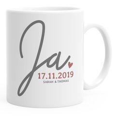 """personalisierte Kaffeetasse """"Ja"""" mit Namen und Datum anpassbar Hochzeitsgeschenk kleines Geschenk Hochzeit SpecialMe®"""
