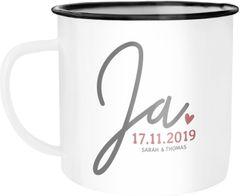 """Emaille-Tasse """"Ja"""" mit Namen Datum personalisierte Hochzeitsgeschenke Emaille-Becher SpecialMe®"""