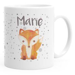 Kindertasse Kunststoff Fuchs mit Namen personalisierte Namenstasse für Kinder Jungen Mädchen SpecialMe®