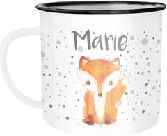 Emaille-Tasse mit Namen Fuchs Motiv Emaille-Becher personalisierte Geschenke Frauen Mädchen Namensaufdruck SpecialMe®