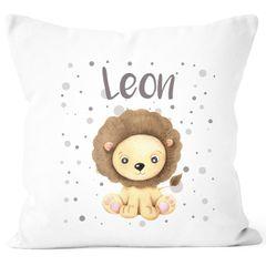 Kissen-Bezug mit Namen für Kinder Löwen Motiv Namenskissen Baumwolle 40x40 SpecialMe®