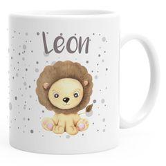 Namenstasse Kinder personalisierte Kaffee-Tasse mit Namen Löwe persönliche Geschenke SpecialMe®