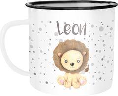 Emaille-Tasse mit Namen Löwe Namensbecher Emaille-Becher personalisierte Geschenke SpecialMe®