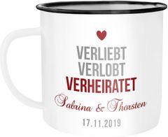 Emailletasse Becher Emaille mit Namen Datum verliebt verlobt verheiratet personalisierte Hochzeitsgeschenke SpecialMe®