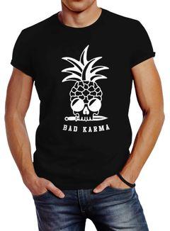 Herren T-Shirt Totenkopf Ananas Bad Karma Sonnenbrille Pineapple Skull Slim Fit Neverless®