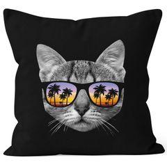 Kissenbezug Katze mit Sonnenbrille Kissen-Hülle 40x40 Baumwolle Moonworks®