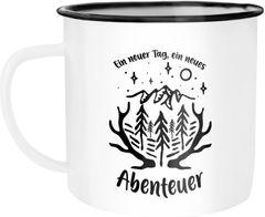 Emaille Tasse Becher Outdoor Design Spruch ein neuer Tag ein neues Abenteuer Camping Travelling Trekking Kaffeetasse Moonworks®