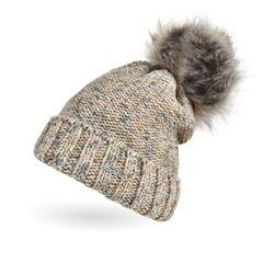 Warme Strickmütze Damen Wintermütze Bommelmütze Trendfarben melange gefüttert mit Bommel Neverless®