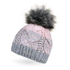 Damen Strick-Mütze gefüttert Fleece-Innenfutter Fell-Bommel Kunstfell Winter-Mütze Bommelmütze Zopfmuster mehrfarbig Neverless®