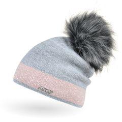 Damen Strick-Mütze gefüttert Fell-Bommel Kunstfell Winter-Mütze Feinstrick mit Glitzer-Garn Bommelmütze Neverless®