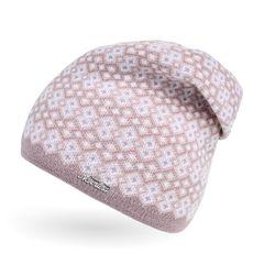 Damen Strick-Mütze Beanie gefüttert Fleece Innenfutter Winter-Mütze Rautenmuster Neverless®