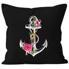 Kissenbezug Blumen Anker Flower Anchor Watercolor 40x40 Baumwolle Autiga®