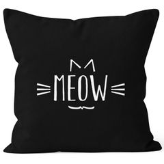 Kissenbezug Meow Miau Katze Cat Kissenhülle Dekokissen 40x40 Baumwolle Moonworks