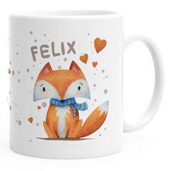 Namenstasse für Kinder personalisierte Kaffee-Tasse mit Namen Fuchs Motiv SpecialMe®