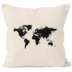 bedruckter Kissenbezug 40x40 Weltkarte World Map Kissen-Hülle Baumwolle Autiga®