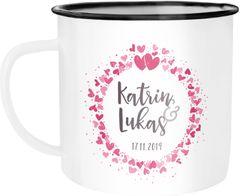 Emaille-Tasse mit eigenem Namen und Datum personalisierte Geschenke Liebesgeschenke Hochzeitsgeschenk SpecialMe®