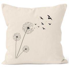Kissenbezug Kissen-Hülle Pusteblume Birds Dandelion Vögel 40x40 Baumwolle Autiga
