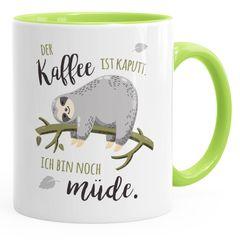 Kaffee-Tassemit Faultier Bürotasse der Kaffee ist kaputt ich bin noch müde Spruch Kaffeebecher MoonWorks®