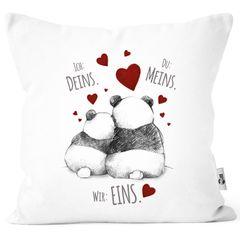 Kissenbezug Kissenhülle Panda Motiv Spruch Ich Deins Du Meins Wir Eins Liebes-Geschenk Partner Liebesbeweis Moonworks®