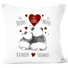 Kissen-Bezug Ich Deins, Du Meins, Wir Eins. Panda-Bär anpassbar mit Namen personalisierte Liebesgeschenke SpecialMe®