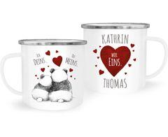 Emaille-Tasse Ich Deins, Du Meins, Wir Eins. Panda-Bär anpassbar mit Namen personalisierte Liebesgeschenke SpecialMe®