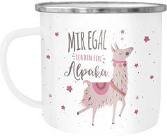 Emaille Tasse Becher mit Spruch und Motiv Mir egal ich bin ein Alpaka Bürotasse Kaffeetasse MoonWorks®