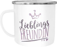 Emaille-Tasse Becher Lieblings Freundin/Schwester/Mama/Mensch mit Krone Geschenkideen Lieblingsperson Moonworks®