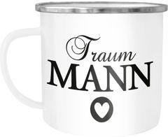 Emaille-Tasse Aufdruck Traumfrau/Traummann Geschenk Partner Freund/Freundin Ehemann/Ehefrau Herzmotiv Moonworks®