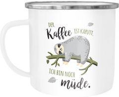 Emaille-Tasse Becher mit Spruch lustig Motiv Faultier Bürotasse der Kaffee ist kaputt ich bin noch müde Moonworks®