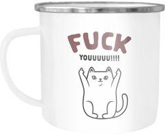 Emailletasse Fuck Youuu! Katze-Motiv Mittelfinger Emaille-Becher mit Spruch Motiv lustig Moonworks®