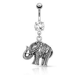 Bauchnabelpiercing Elefant Elephant Anhänger Bananabell Rhodiniert