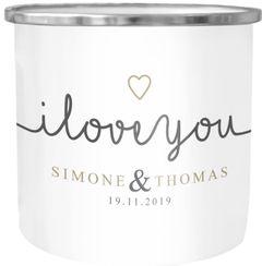 Emaille-Tasse I love you Becher Emaille mit eigenem Namen und Datum personalisierte Geschenke Liebesgeschenke SpecialMe®