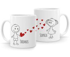 personalisierte Kaffee-Tasse mit Namen Liebes-Paar Strichmännchen Liebesgeschenke Valentinstag Weihnachten (1 Tasse) SpecialMe®