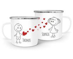 Emaille-Tasse mit Namen Liebes-Paar Strichmännchen Liebesgeschenke personalisierbare Geschenke (1 Tasse) SpecialMe®