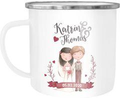 Emaille Tasse Becher Hochzeit Brautpaar Motiv anpassbare Namen Datum personalisierte Geschenke SpecialMe®