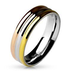"Edelstahl Damen Ring Rosègold Silber Gold 3-farbig ""Triple"" Ringe Band Herren"