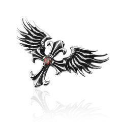 Anhänger Kreuz Flügel Engel Edelstahl Halskette Lederkette Zirkonia Kristall Rot Fleur De Lis Damen Herren
