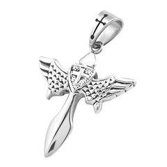 Anhänger Kreuz Flügel Engel Edelstahl Halskette Lederkette Damen Herren