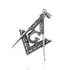 Anhänger Freimaurer Edelstahl Halskette Lederkette Winkel Zirkel Masonic Herren Damen