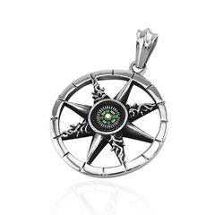 Anhänger Kompass Rad des Lebens Dharma Chakra Edelstahl Halskette Lederkette Damen Herren