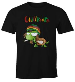 Herren T-Shirt Chillkröte Schildkröte Rastafrisur Joint Comic Stil Fun-Shirt Spruch lustig Moonworks®