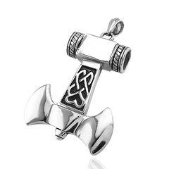 Anhänger Axt Beil Wikinger Tribal Keltisch Celtic Edelstahl Halskette Lederkette Gothic Kugelkette Damen Herren