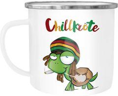Emaille Tasse Becher Chillkröte Schildkröte Rastafrisur Joint Comic Stil Kaffeetasse Fun-Tasse Moonworks®
